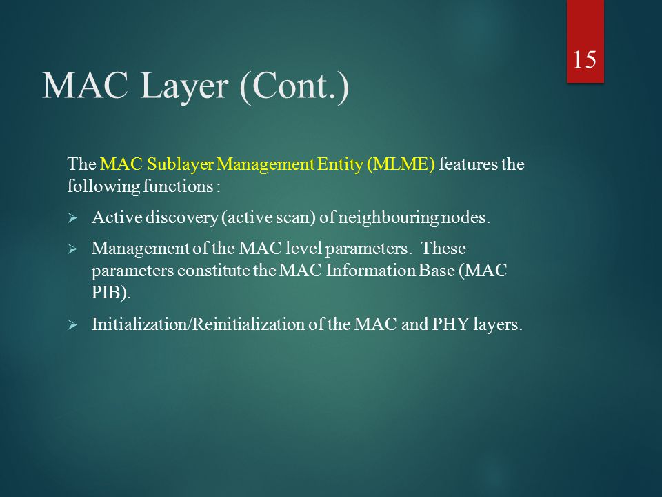 MAC Layer (Cont.) The MAC Sublayer Management Entity (MLME) features the following functions :