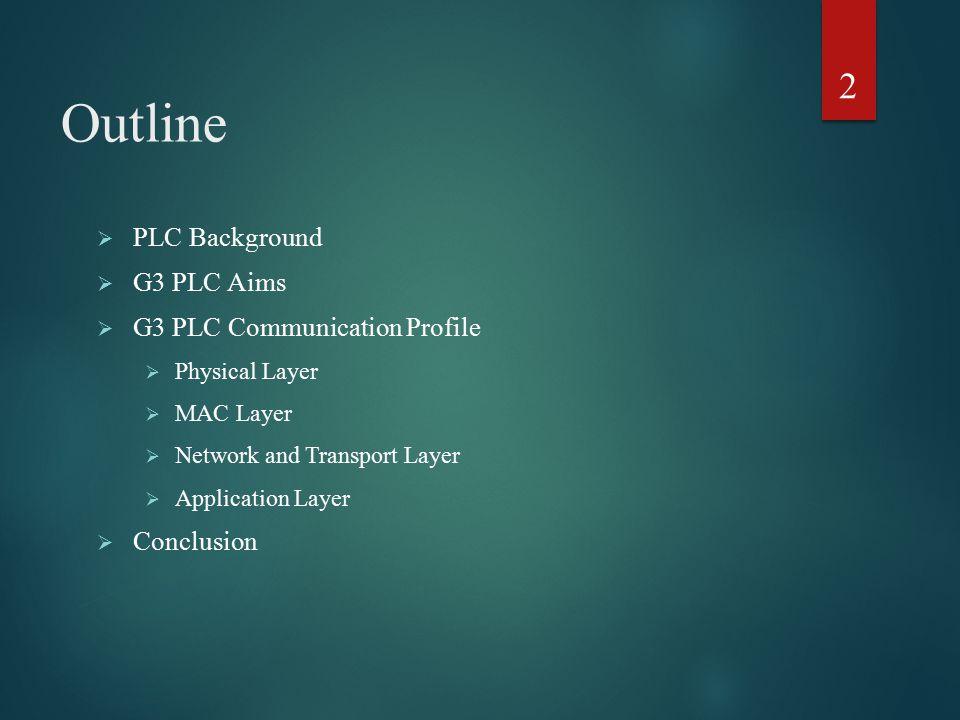 Outline PLC Background G3 PLC Aims G3 PLC Communication Profile