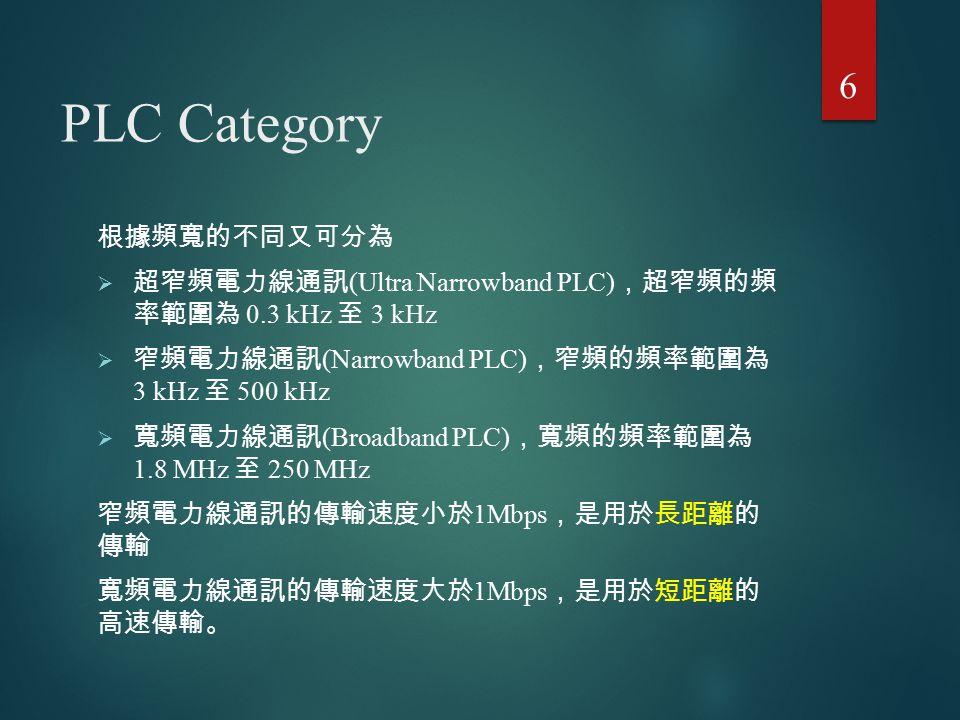 PLC Category 根據頻寬的不同又可分為