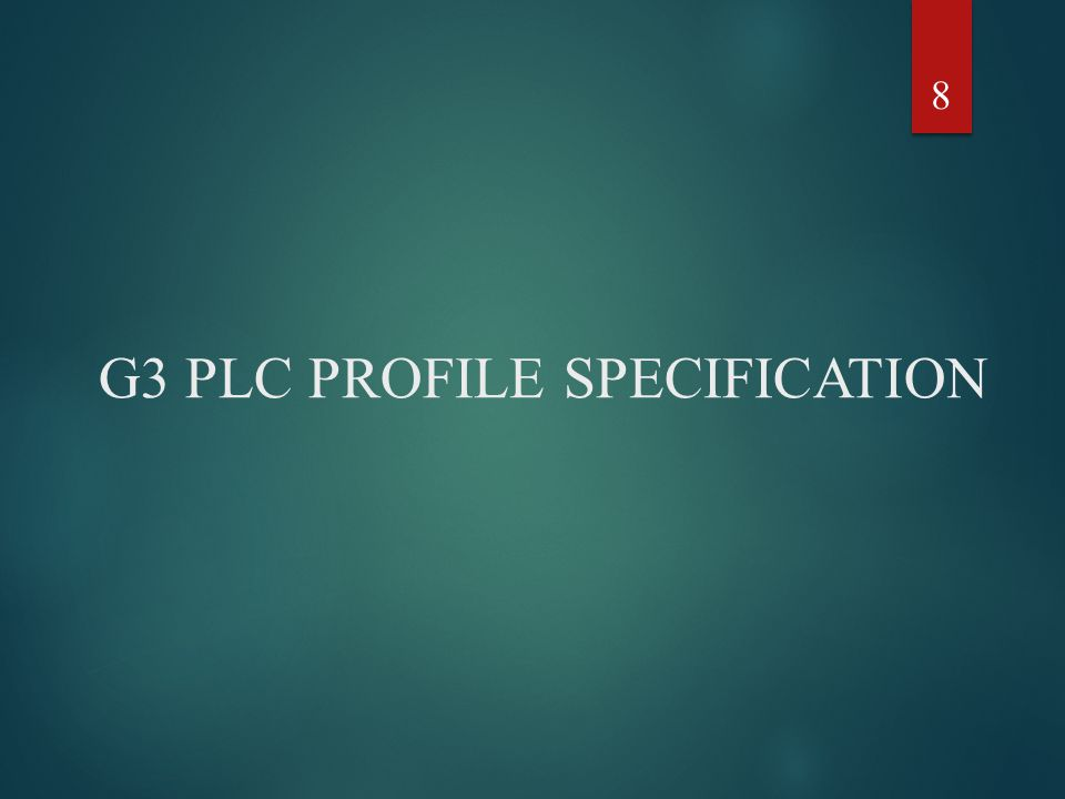 G3 PLC PROFILE SPECIFICATION