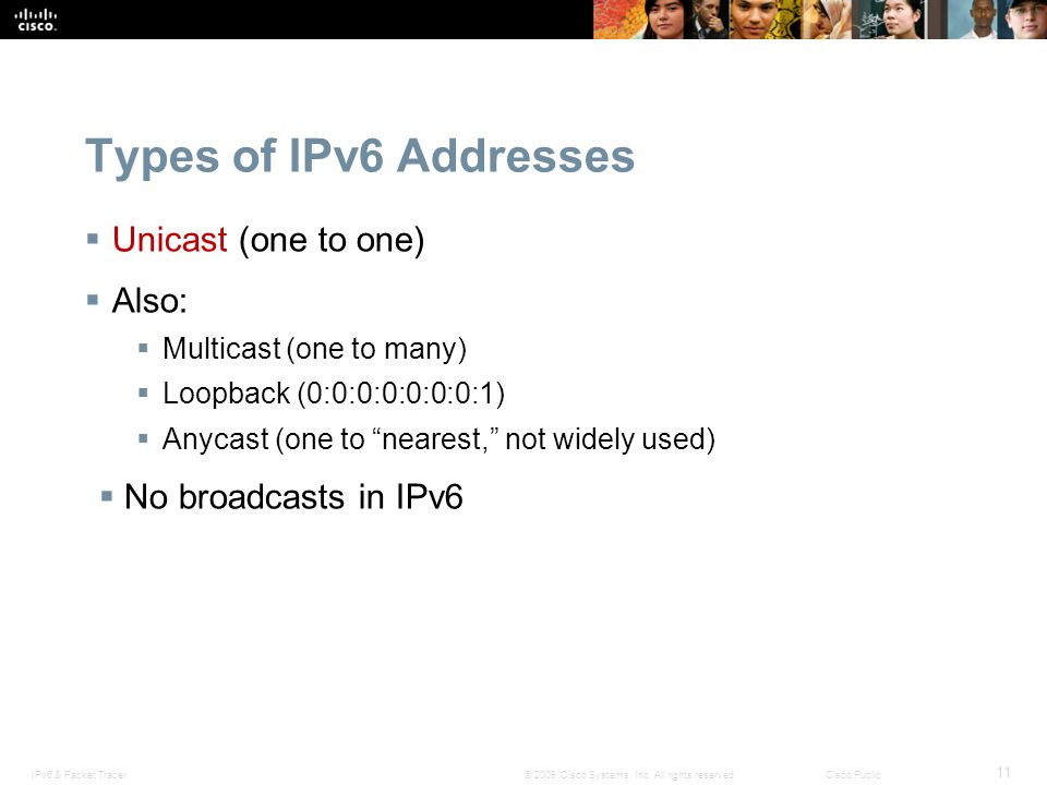 Types of IPv6 Addresses Unicast (one to one) Also: