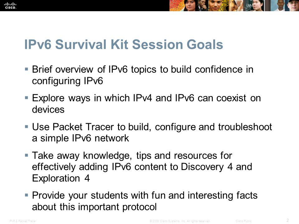 IPv6 Survival Kit Session Goals