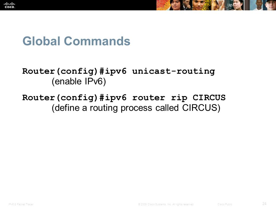 Global Commands Router(config)#ipv6 unicast-routing (enable IPv6)