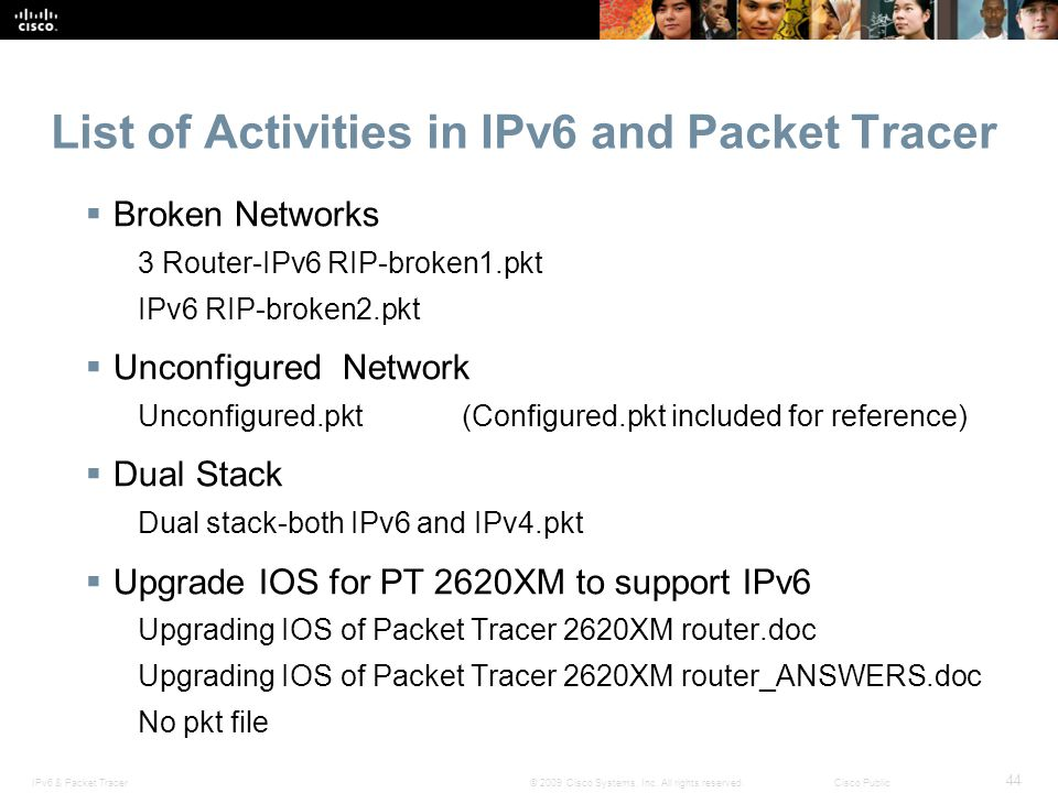 List of Activities in IPv6 and Packet Tracer