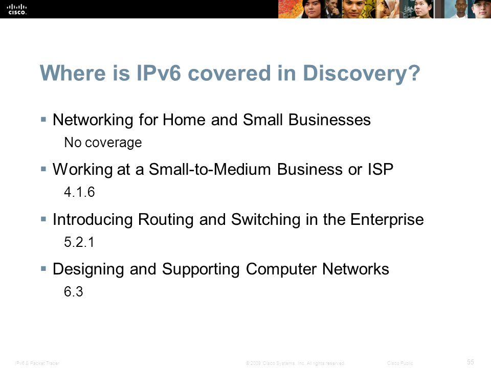 Where is IPv6 covered in Discovery