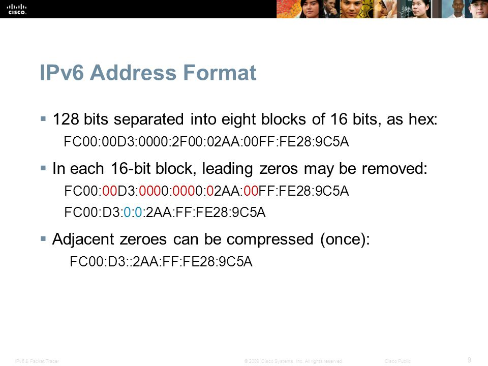 IPv6 Address Format 128 bits separated into eight blocks of 16 bits, as hex: FC00:00D3:0000:2F00:02AA:00FF:FE28:9C5A.