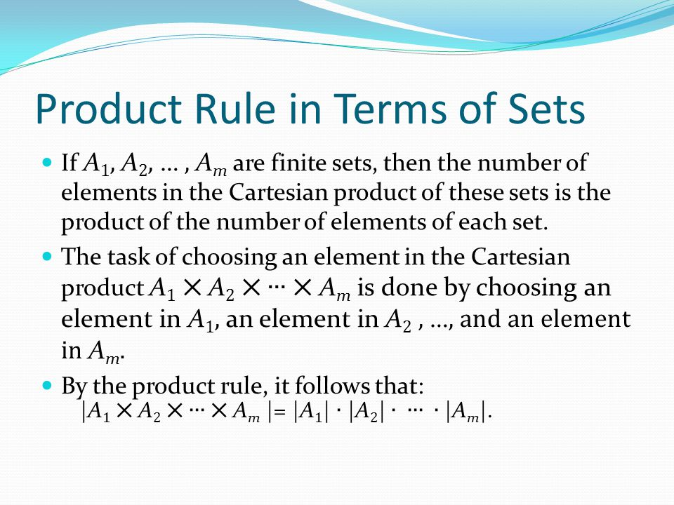 Product Rule in Terms of Sets
