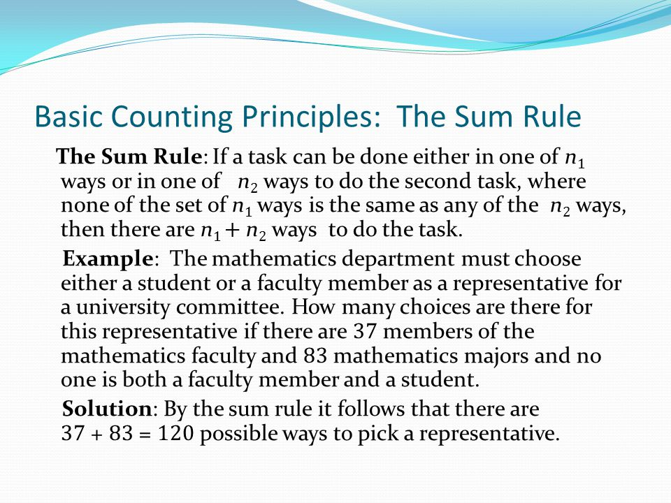 Basic Counting Principles: The Sum Rule