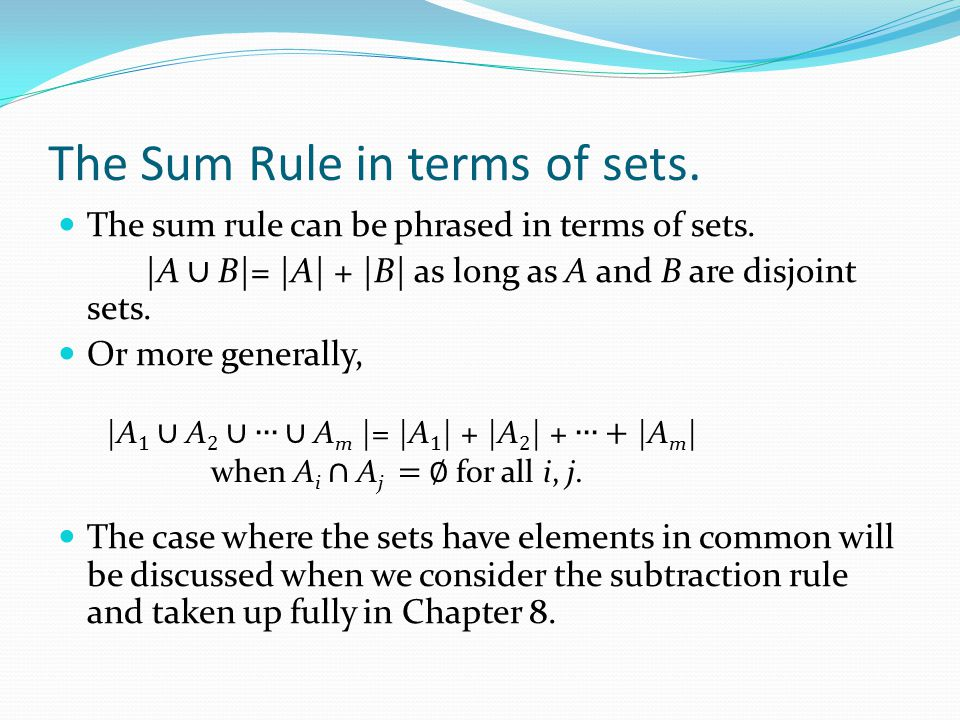 The Sum Rule in terms of sets.