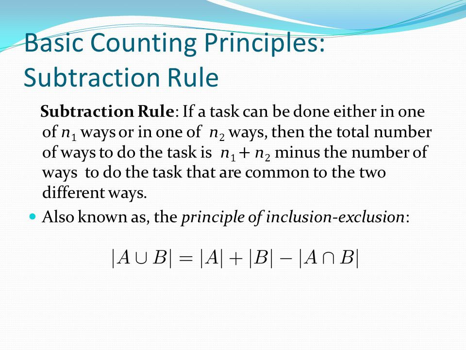 Basic Counting Principles: Subtraction Rule