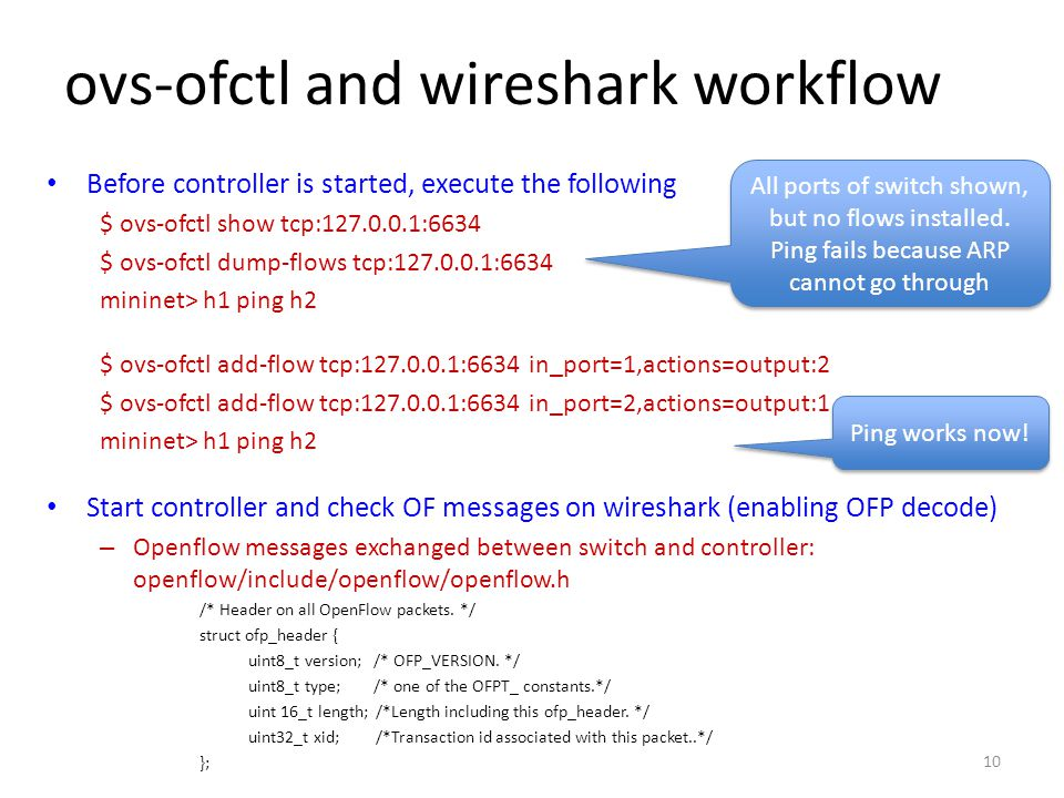 ovs-ofctl and wireshark workflow