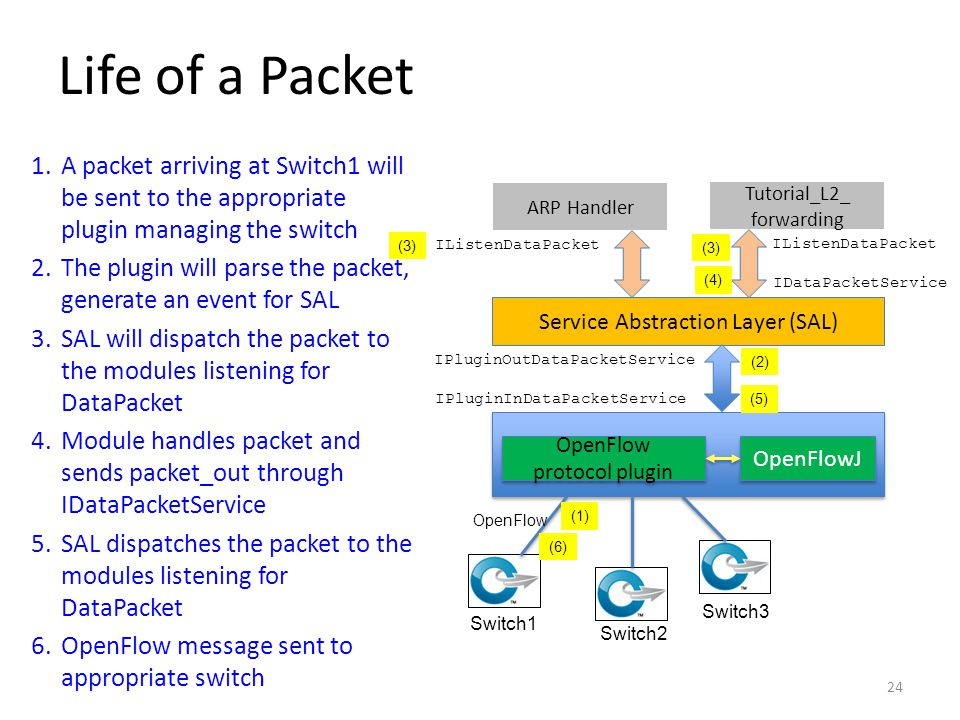 Life of a Packet A packet arriving at Switch1 will be sent to the appropriate plugin managing the switch.