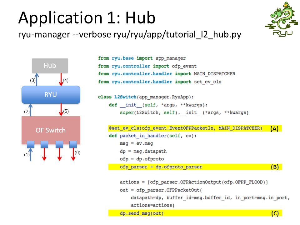 Application 1: Hub ryu-manager --verbose ryu/ryu/app/tutorial_l2_hub