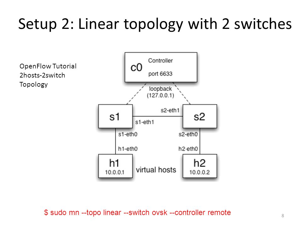 Setup 2: Linear topology with 2 switches