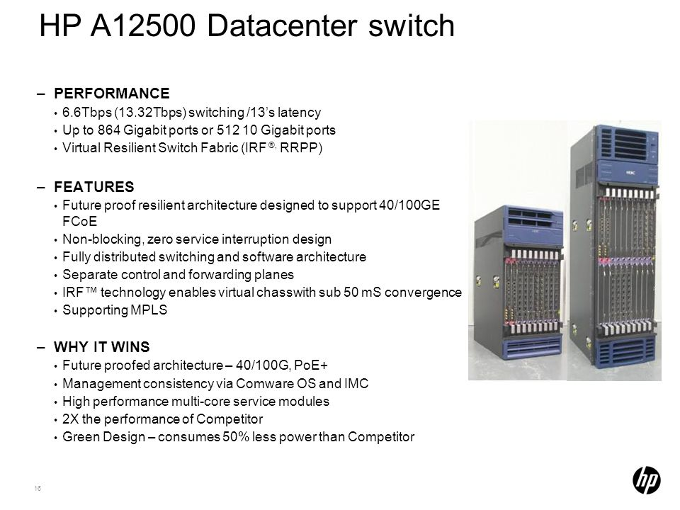 HP A12500 Datacenter switch PERFORMANCE FEATURES WHY IT WINS