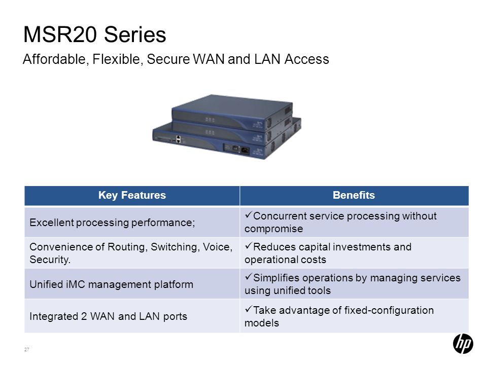 MSR20 Series Affordable, Flexible, Secure WAN and LAN Access