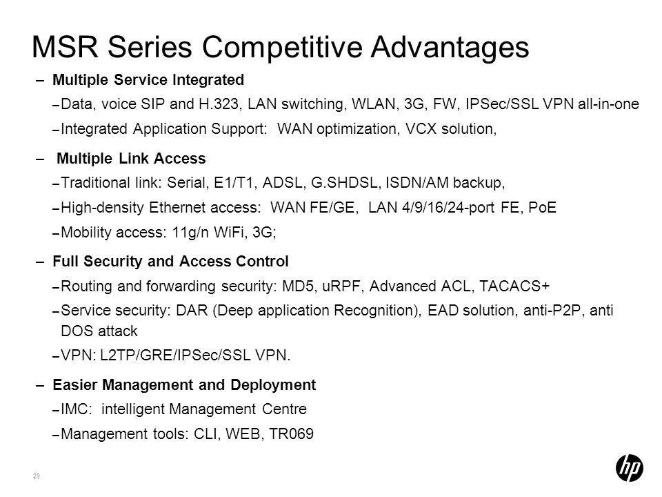 MSR Series Competitive Advantages