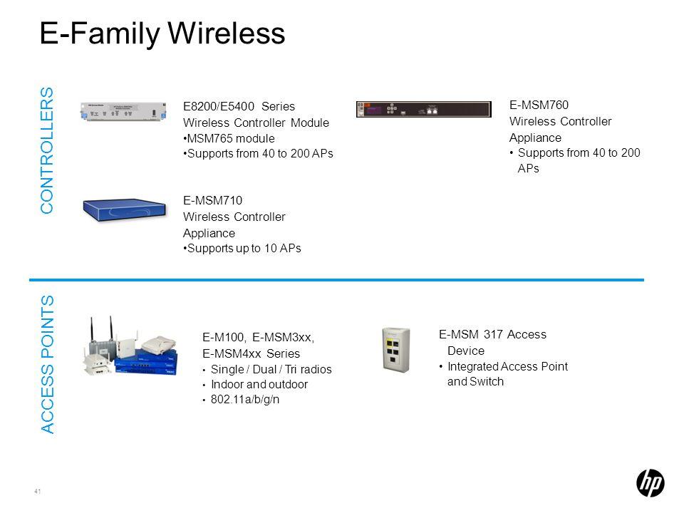 E-Family Wireless CONTROLLERS ACCESS POINTS E8200/E5400 Series