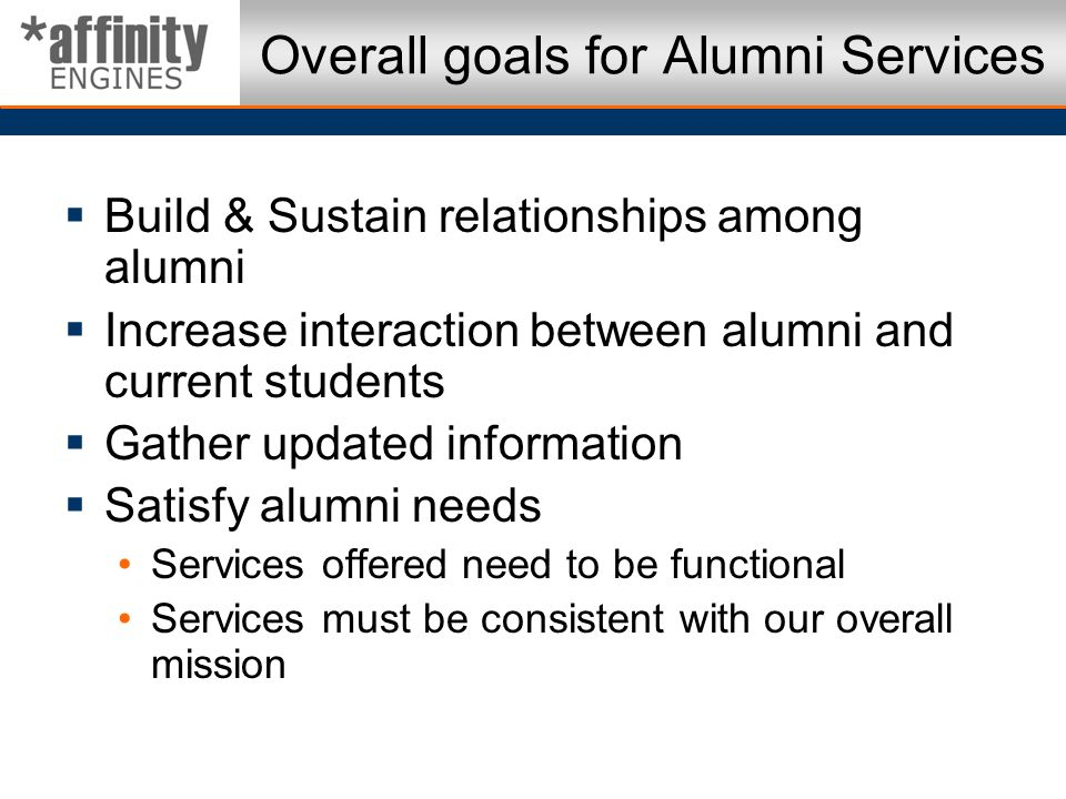 Overall goals for Alumni Services