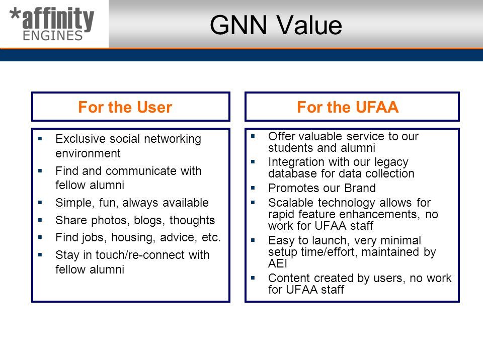 GNN Value For the User For the UFAA