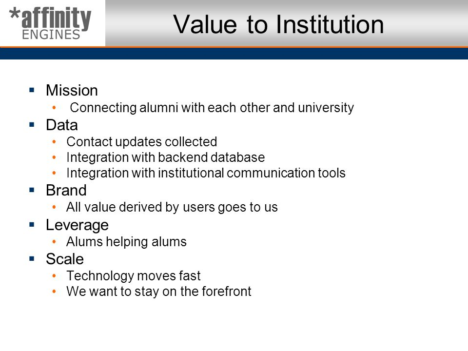 Value to Institution Mission Data Brand Leverage Scale