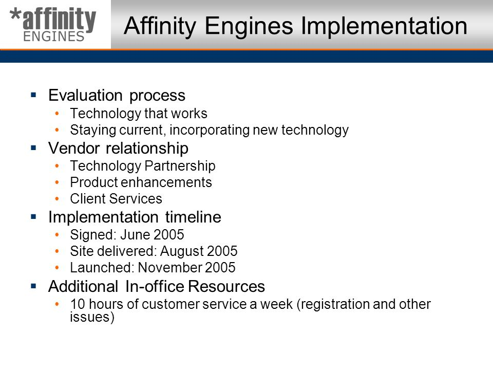 Affinity Engines Implementation