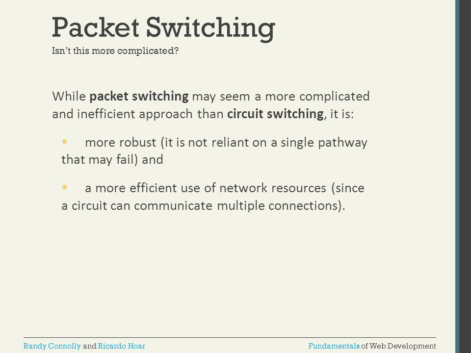 Packet Switching Isn't this more complicated