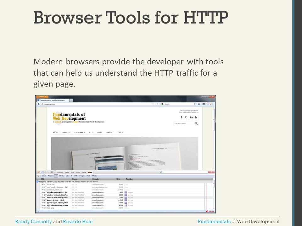 Browser Tools for HTTP Modern browsers provide the developer with tools that can help us understand the HTTP traffic for a given page.