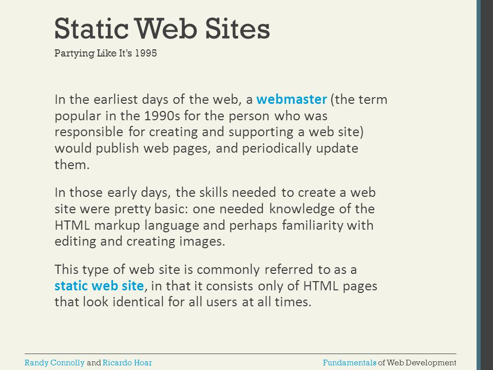 Static Web Sites Partying Like It's 1995.
