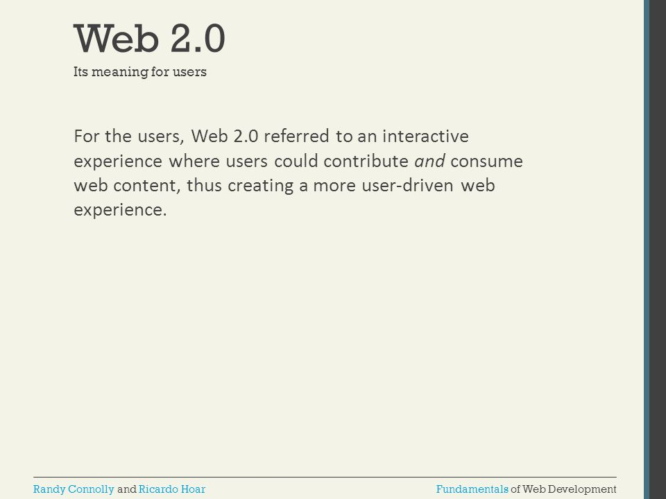 Web 2.0 Its meaning for users.