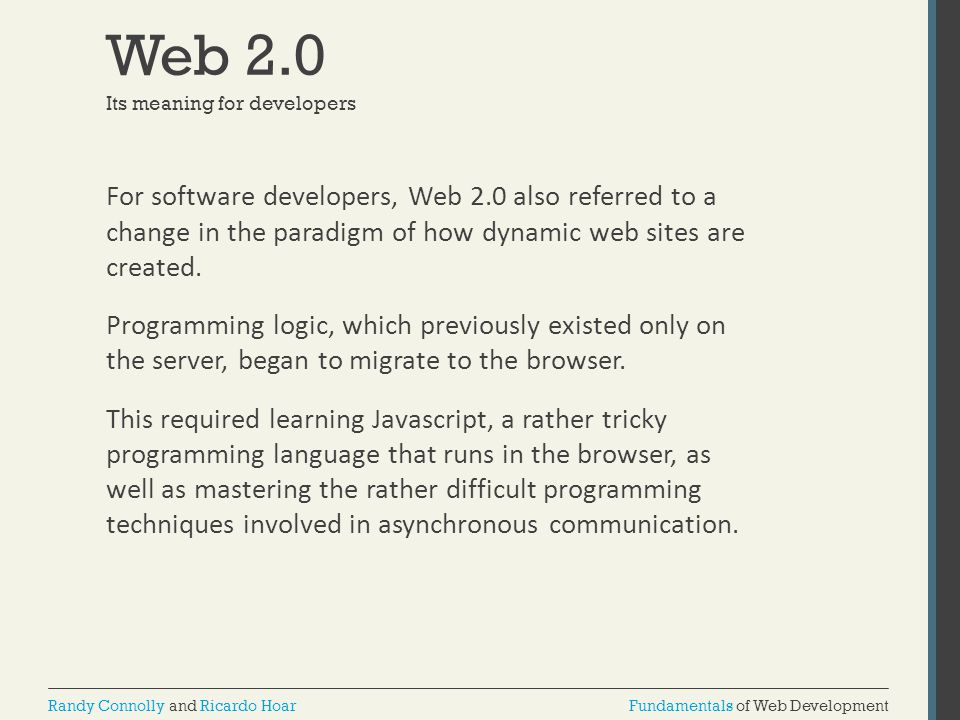 Web 2.0 Its meaning for developers.