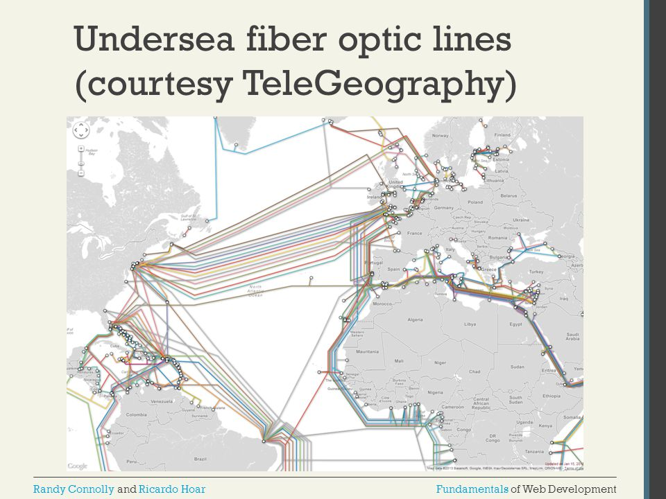Undersea fiber optic lines (courtesy TeleGeography)