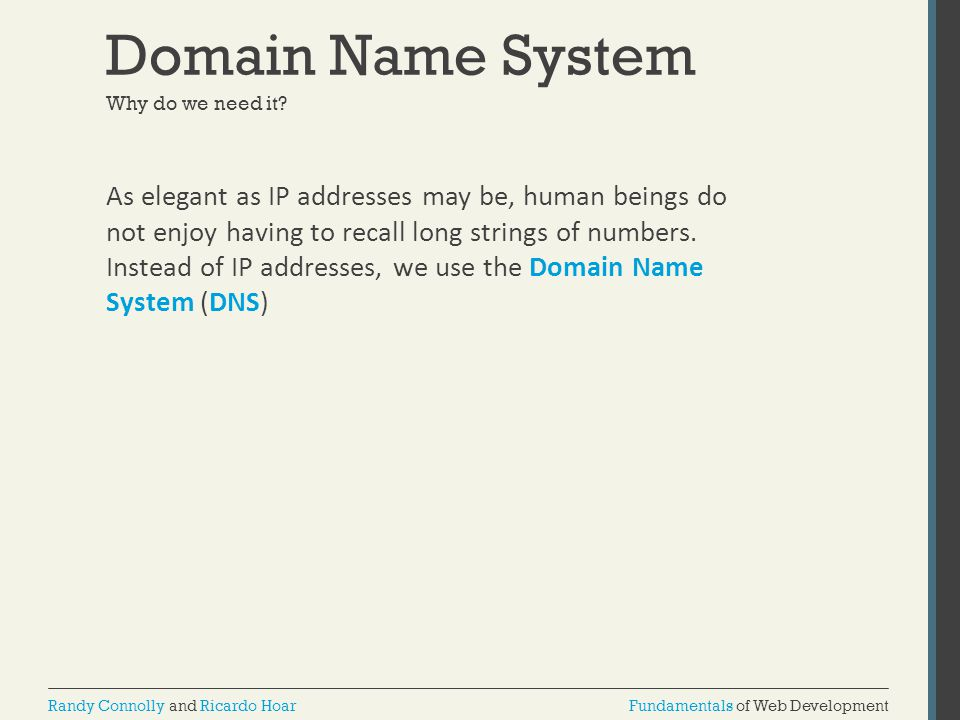 Domain Name System Why do we need it