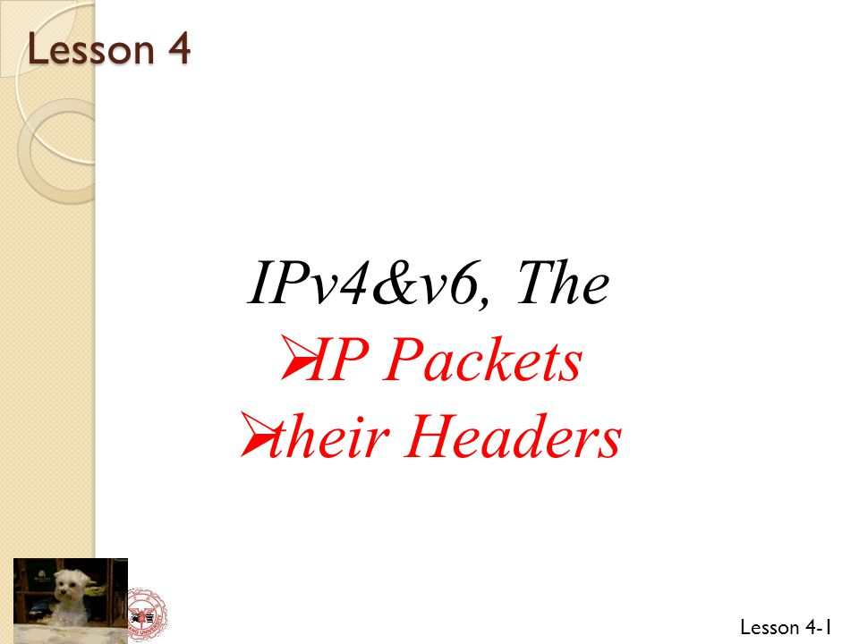 Lesson 4 IPv4&v6, The IP Packets their Headers