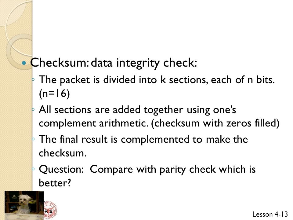 Checksum: data integrity check: