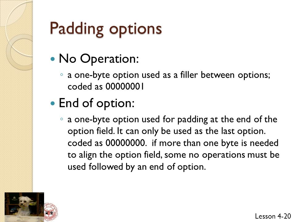 Padding options No Operation: End of option:
