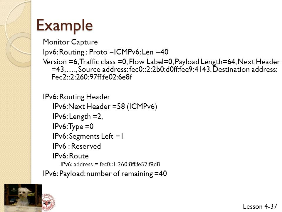 Example Monitor Capture Ipv6: Routing ; Proto =ICMPv6: Len =40