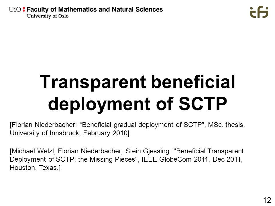 Transparent beneficial deployment of SCTP