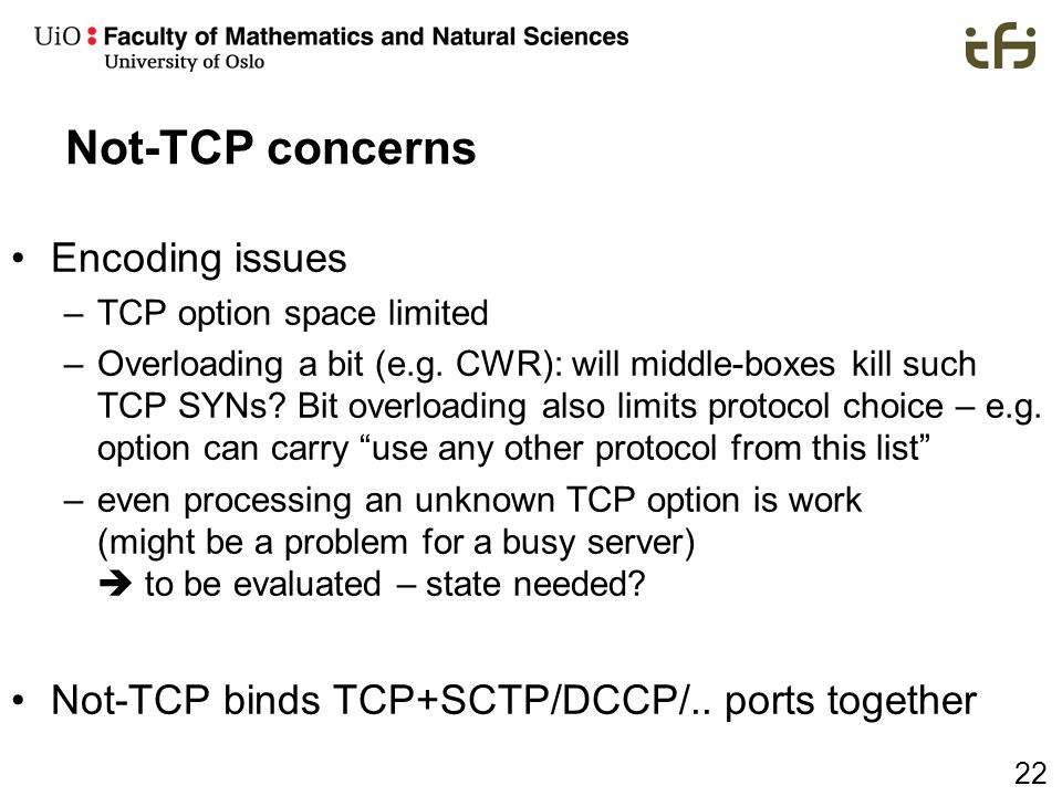 Not-TCP concerns Encoding issues
