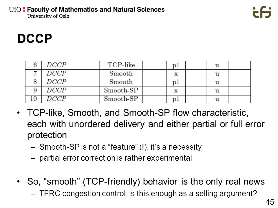 DCCP TCP-like, Smooth, and Smooth-SP flow characteristic, each with unordered delivery and either partial or full error protection.