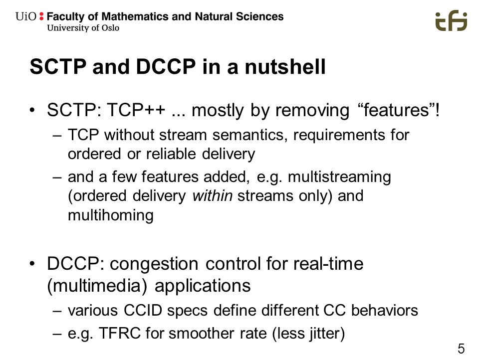 SCTP and DCCP in a nutshell