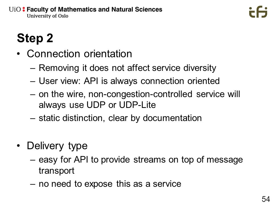 Step 2 Connection orientation Delivery type