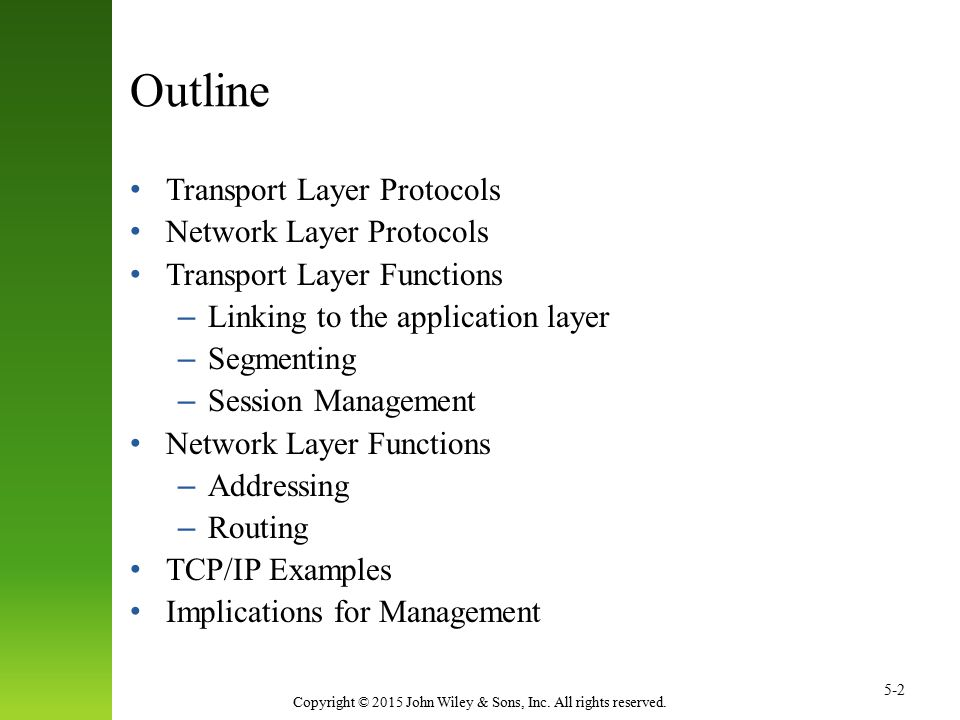 Outline Transport Layer Protocols Network Layer Protocols