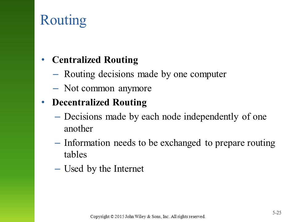 Routing Centralized Routing Routing decisions made by one computer
