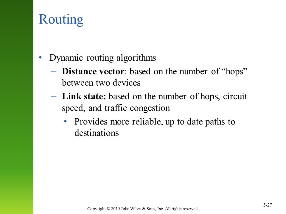 Routing Dynamic routing algorithms
