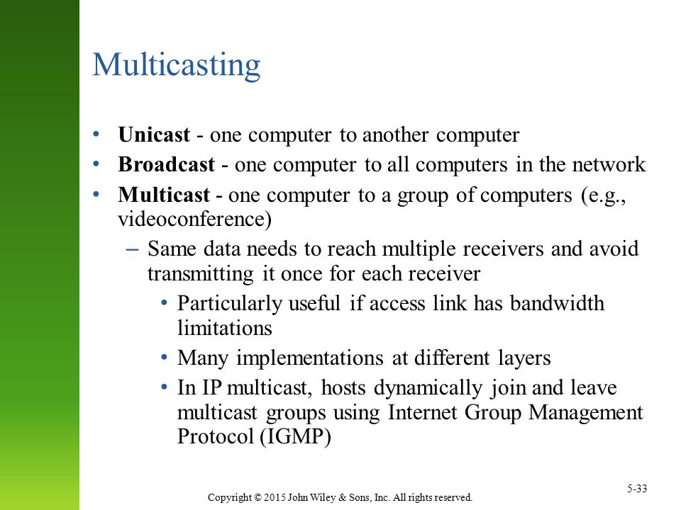 Multicasting Unicast - one computer to another computer
