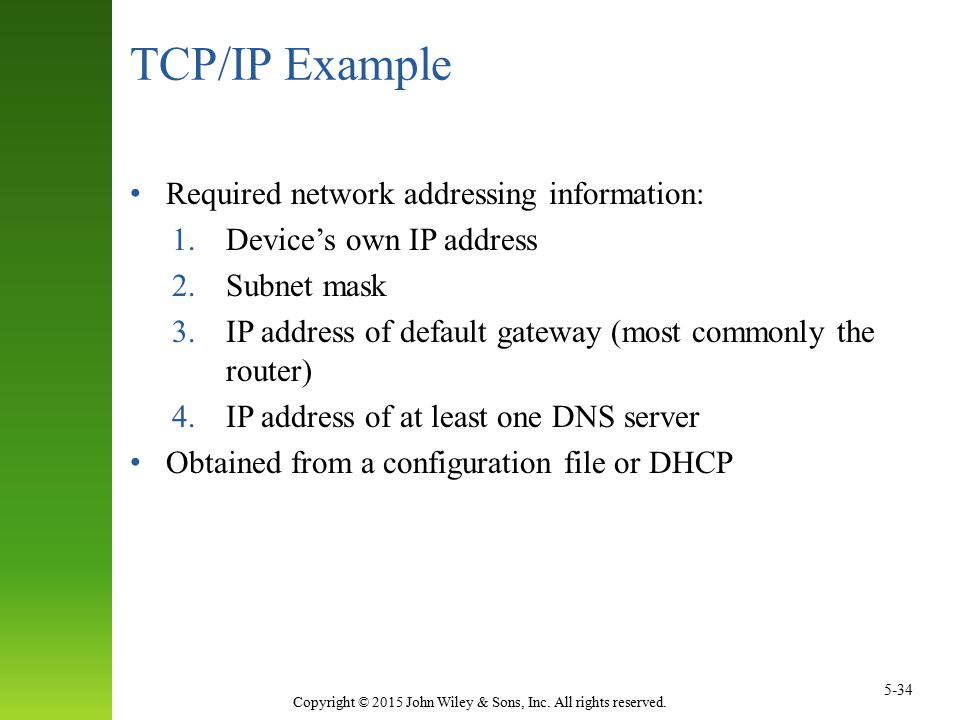 TCP/IP Example Required network addressing information: