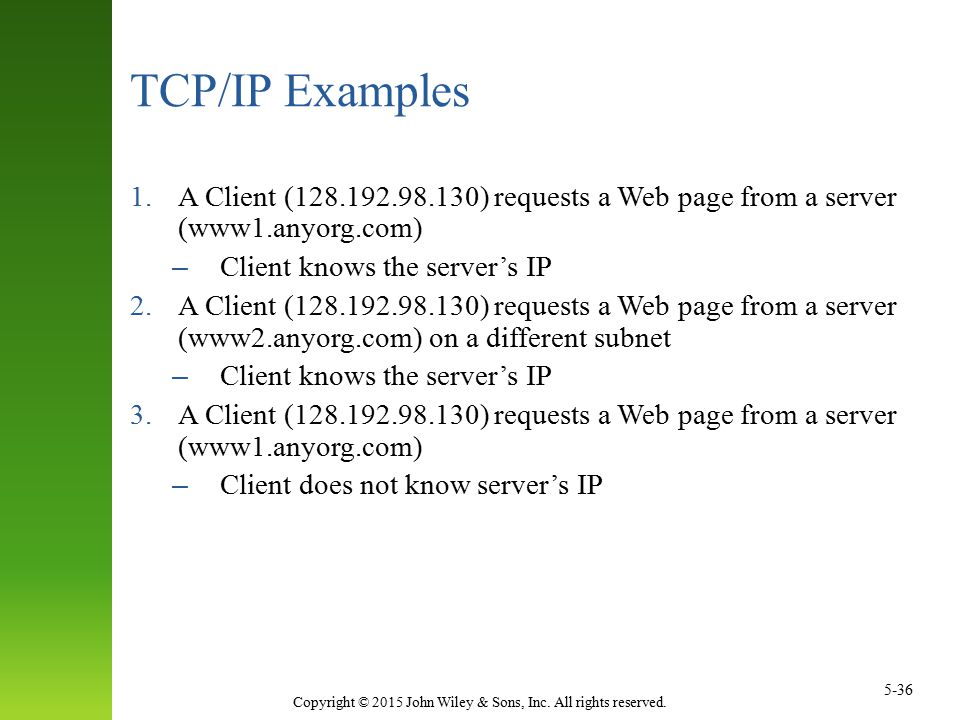TCP/IP Examples A Client (128.192.98.130) requests a Web page from a server (www1.anyorg.com) Client knows the server's IP.