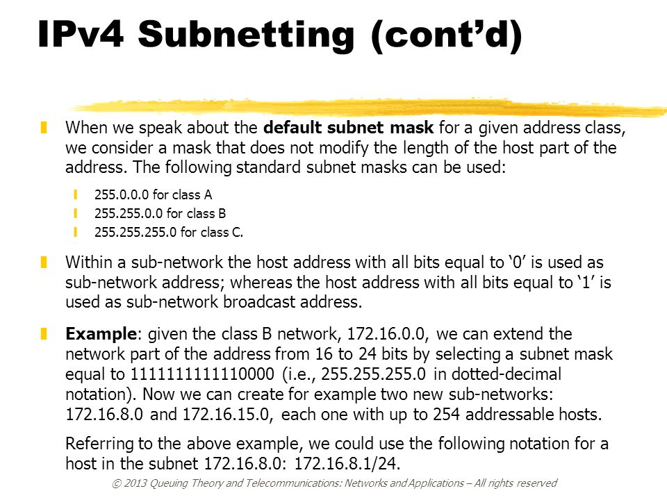 IPv4 Subnetting (cont'd)