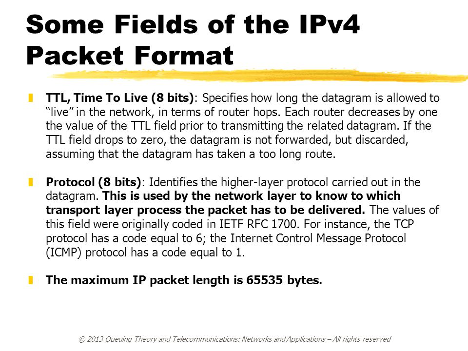 Some Fields of the IPv4 Packet Format